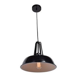 Nostalgia Shiny Black 14-Inch One-Light Pendant