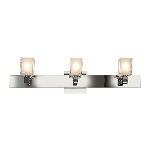 Glase Chrome Three-Light Up Light Vanity with Frosted and Clear Glass