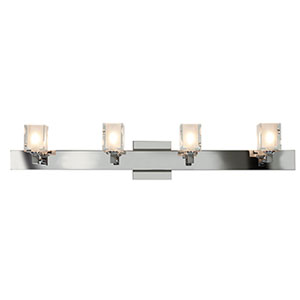 Glase Chrome Four-Light Vanity with Frosted and Clear Square Glass
