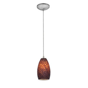 Champagne Brushed Steel One-Light Cord Mini Pendant with Brown Stone Glass