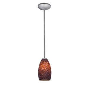 Champagne Brushed Steel One-Light Rod Mini Pendant with Brown Stone Glass