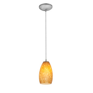 Champagne Brushed Steel Fluorescent Mini Pendant with Amber Stone Glass