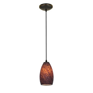 Champagne Oil Rubbed Bronze LED Cord Mini Pendant with Brown Stone Glass Shade