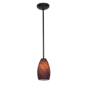 Champagne Oil Rubbed Bronze LED Rod Mini Pendant with Brown Stone Glass Shade