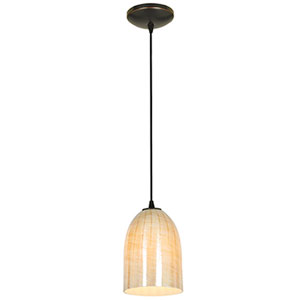 Champagne Oil Rubbed Bronze One-Light Cord Mini Pendant with Wicker Amber Glass