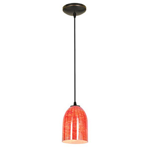 Champagne Oil Rubbed Bronze One-Light Cord Mini Pendant with Wicker Red Glass