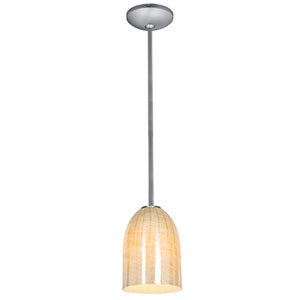 Champagne Brushed Steel One-Light Rod Mini Pendant with Wicker Amber Glass