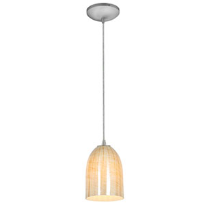 Bordeaux Brushed Steel LED Cord Mini Pendant with Wicker Amber Glass Shade