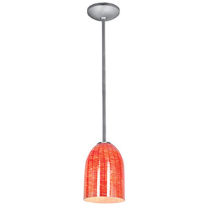 Bordeaux Brushed Steel LED Rod Mini Pendant with Wicker Red Glass Shade