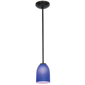 Bordeaux Oil Rubbed Bronze LED Rod Mini Pendant with Cobalt Glass Shade