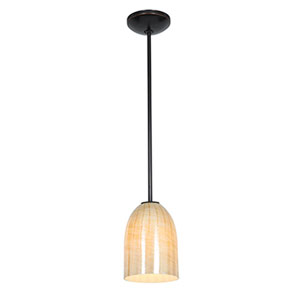 Bordeaux Oil Rubbed Bronze LED Rod Mini Pendant with Wicker Amber Glass Shade