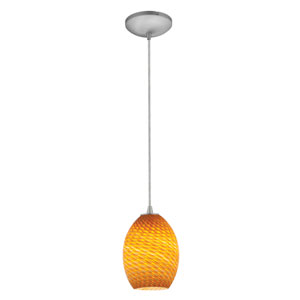 Brandy FireBird LED Brushed Steel 1-Light Cord Pendant with Amber Glass Shade
