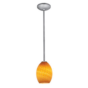 Brandy FireBird LED Brushed Steel 1-Light Rod Pendant with Amber Glass Shade