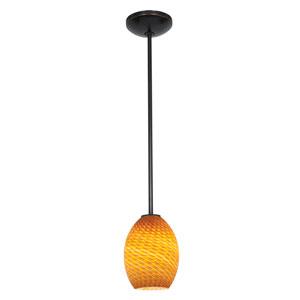 Brandy FireBird LED Oil Rubbed Bronze 1-Light Rod Pendant Amber Glass Shade