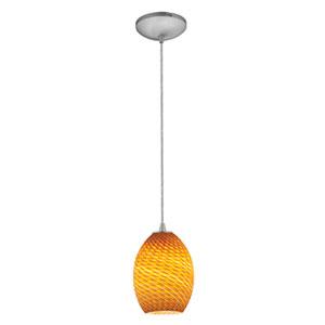 Brandy Firebird Brushed Steel One-Light Mini Pendant with Amber Firebird Glass