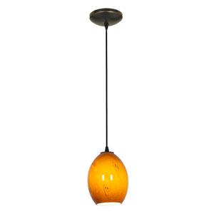 Brandy Firebird Oil Rubbed Bronze One-Light Mini Pendant with Amber Sky Glass