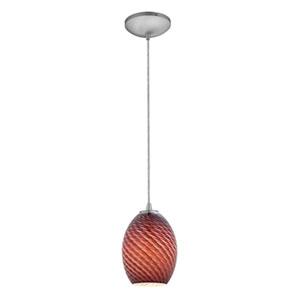 Brandy Firebird Brushed Steel Fluorescent Mini Pendant with Plum Firebird Glass