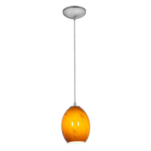 Brandy FireBird Brushed Steel LED Cord Mini Pendant with Amber Sky Glass Shade