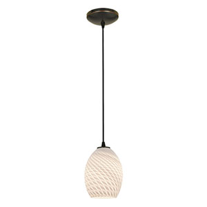 Brandy FireBird Oil Rubbed Bronze LED Cord Mini Pendant with White Firebird Glass Shade