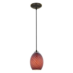 Brandy FireBird Oil Rubbed Bronze LED Cord Mini Pendant with Plum Firebird Glass Shade