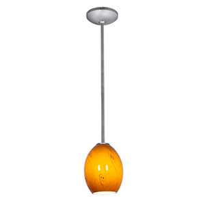 Brandy FireBird Brushed Steel LED Rod Mini Pendant with Amber Sky Glass Shade