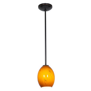 Brandy FireBird Oil Rubbed Bronze LED Rod Mini Pendant with Amber Sky Glass Shade