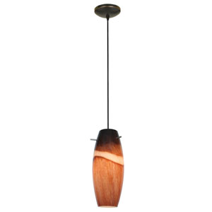 Cabernet Oil Rubbed Bronze LED Cord Mini Pendant with Amber Slate Glass Shade
