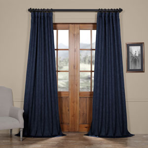 Blue Indigo 108 x 50 In.Faux Linen Blackout Curtain Single Panel