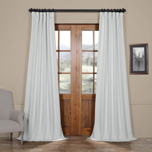 White Oyster 84 x 50 In. Faux Linen Blackout Curtain Single Panel