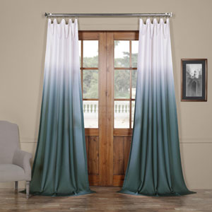Ombre Aqua Blue 108 x 50 In. Faux Linen Semi Sheer Curtain Single Panel