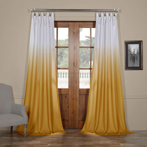 Ombre Gold 84 x 50 In. Faux Linen Semi Sheer Curtain Single Panel