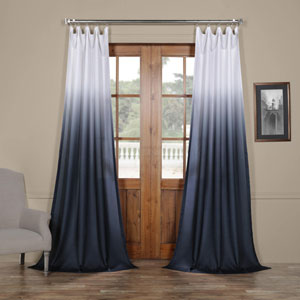 Ombre Blue 96 x 50 In. Faux Linen Semi Sheer Curtain Single Panel