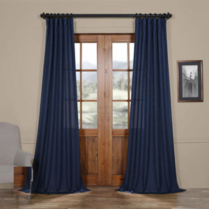 Stormy Blue 108 x 50 In. Faux Linen Semi Sheer Curtain Single Panel