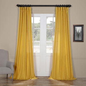 Buttercup Gold 84 x 50 In. Faux Linen Semi Sheer Curtain Single Panel