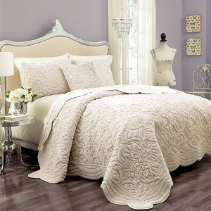 Signature Plush Ivory Three Piece King Charlotte Faux Fur Coverlet Set
