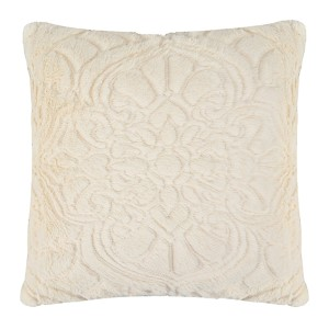 Signature Plush Ivory 18 x 18 Charlotte Faux Fur Decorative Pillow