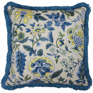 Imperial Dress Porcelain 18-Inch Decorative Pillow w/ Fringe