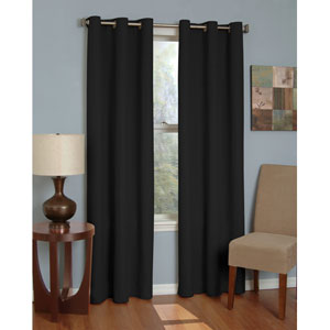 Microfiber Black 42-Inch x 84-Inch Grommet Blackout Window Curtain Panel