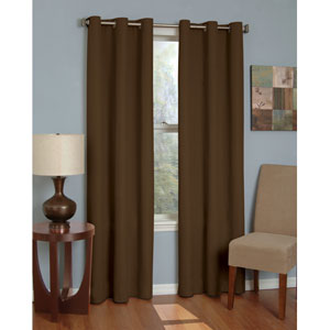 Microfiber Chocolate 42-Inch x 84-Inch Grommet Blackout Window Curtain Panel