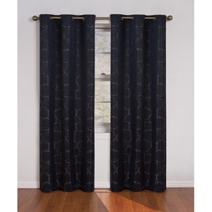 Meridian Black 42-Inch x 84-Inch Blackout Window Curtain Panel