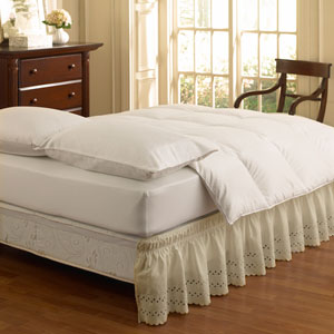 Ivory Twin/Full Wrap Around Eyelet Ruffled Bedskirt
