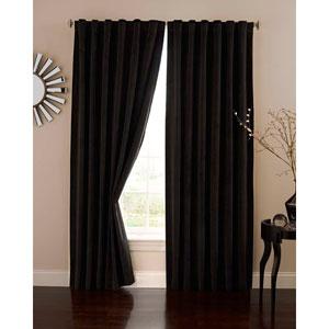 Black 50-Inch x 84-Inch Velvet Blackout Home Theater Curtain Panel