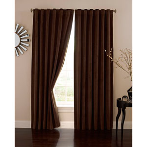 Chocolate 50-Inch x 84-Inch Velvet Blackout Home Theater Curtain Panel
