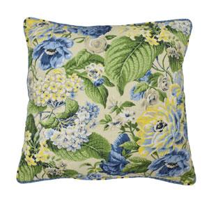 Floral Flourish Porcelain 20-Inch Decorative Pillow