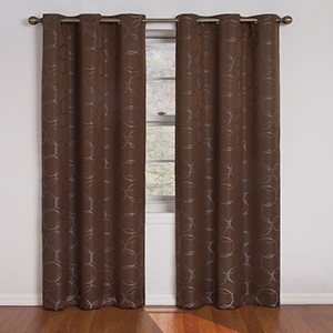 Meridian Chocolate Blackout Window Curtain Panel