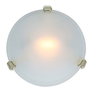 Nimbus Polished Brass One-Light Flush Mount with Frosted Glass