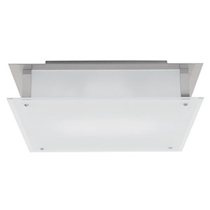 Vision Brushed Steel 18-Inch LED Flush Mount with Frosted Glass