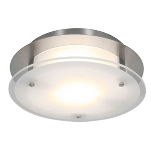VisionRound Brushed Steel One-Light Small Flush or Wall Mount