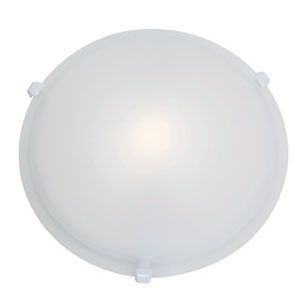 Nimbus White One-Light 16-Inch Flush Mount with Frosted Glass