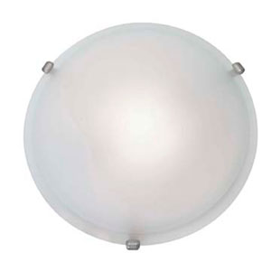 Nimbus Satin One-Light 16-Inch Flush Mount with Frosted Glass